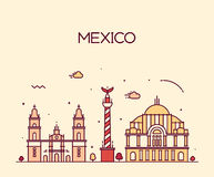 Mexico City skyline Trendy vector line art style Royalty Free Stock Image