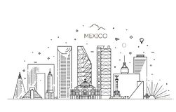 Mexico city skyline on a white background. Flat vector illustration vector illustration