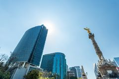 Mexico City skyscrapers and angel of independence Royalty Free Stock Photography