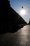 Mexico City street stones. Lit by a early morning sun Royalty Free Stock Photography
