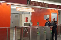 Mexico City. A view inside the subway metro station guarded by police on March 20, 2014 in Mexico City Stock Photo