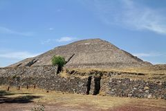 Mexico City. A view of a pyramid at the site of Teotihuacan on March 17, 2014 in Mexico City Royalty Free Stock Photos