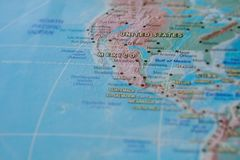 Mexico in close up on the map. Focus on the name of country. Vignetting effect.  royalty free stock images