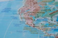 Mexico in close up on the map. Focus on the name of country. Vignetting effect.  stock images