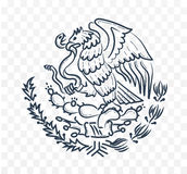 Mexico coat of arms. A symbol of the eagle and the snake. Black and white icon silhouette in a linear style Stock Photo