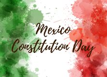 Mexico Constitution Day. Background with watercolored grunge design. Constitution day holiday concept background. Abstract watercolor splashes in Mexico flag vector illustration