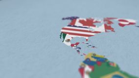 Mexico Country Border 3D visualization with Modern Map and Flag Outline