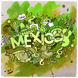 Mexico country hand lettering and doodles elements Royalty Free Stock Photos