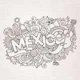 Mexico country hand lettering and doodles elements Royalty Free Stock Image