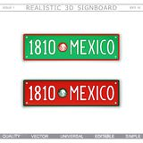 1810 Mexico. The country`s founding date. Stylized car license plate. Top view. Vector design elements stock illustration