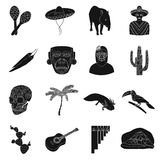 Mexico country set icons in black style. Big collection of Mexico country vector symbol stock illustration Royalty Free Stock Images