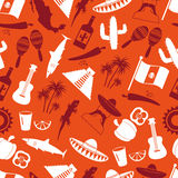 Mexico country theme icons seamless color pattern eps10 Royalty Free Stock Photo