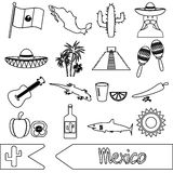 Mexico country theme symbols outline icons set Royalty Free Stock Image