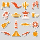 Mexico country theme symbols stickers set eps10 Stock Photo