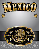 Mexico cowboy gold belt buckle  design and lettering Stock Image