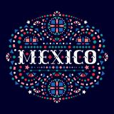 Mexico creative word and Mexican embroidery motif for festive card. Bright background with fiesta style folk art pattern. Western shapes of text. Colorful vector illustration