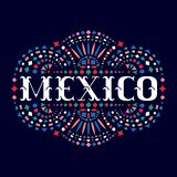 Mexico creative word and Mexican traditional embroidery motif for festive card. Bright background with fiesta style folk art pattern. Western shapes of text royalty free illustration