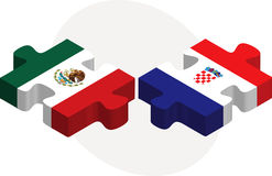 Mexico and Croatia Flags in puzzle Stock Image