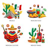 Mexico Culture Concept. Mexican culture traditions food 4 colorful icons concept with cactus guitar poncho tequila tacos isolated vector illustration Stock Image