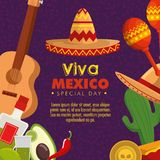 Mexico culture event with traditional decoration. Vector illustration royalty free illustration