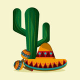 Mexico culture icons in flat design style, vector illustration. Mexico culture icons in flat style design, maraca, cactus and hat. vector illustration Stock Images