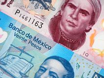 Mexico currency 20 and 50 pesos banknote closeup macro, Mexican Royalty Free Stock Photography
