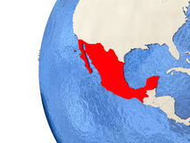 Mexico on 3D globe. Map of Mexico on globe with watery blue oceans and landmass with visible country borders. 3D illustration Stock Photo