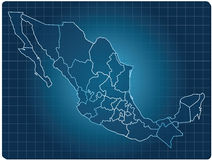 Mexico dark map. Blue dark map of mexico Stock Image
