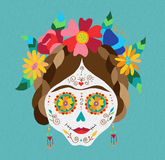 Mexico day of the dead skull and spring decoration Royalty Free Stock Photos