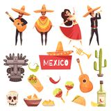Mexico Decorative Icons Set. Of cactus maracas tequila mexican musicians with guitars in poncho and sombrero flat vector illustration Stock Photos