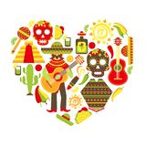 Mexico decorative icons set Stock Images