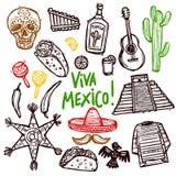 Mexico Doodle Set Stock Photo