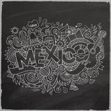 Mexico doodles elements chalkboard background Royalty Free Stock Images