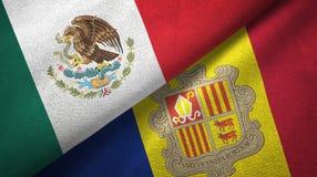Mexico en Andorra twee vlaggen textieldoek, stoffentextuur vector illustratie