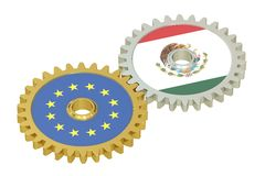 Mexico and EU flags on a gears, 3D rendering. Isolated on white background Royalty Free Stock Image