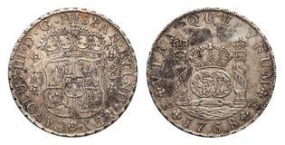 Mexico försilvrar myntet 8 verklig 1768 arkivfoto