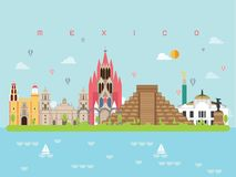 Mexico Famous Landmarks Infographic Templates for Traveling and Icon, Symbol Set Vector. royalty free illustration