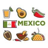 Mexico flad och traditionell kokkonst isolerade illustrationuppsättningen vektor illustrationer