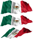 Mexico Flag. 3 angles of the Mexico Flag. Part of a flag series. 3D illustration royalty free illustration