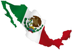 Mexico flag. Vector illustration of a map and flag from Mexico