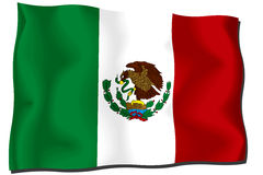 Mexico Flag. Flag of Mexico waving in the wind Stock Illustration