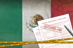 Free Mexico Flag And Health Insurance Claim Form With Covid-19 Stamp. Coronavirus Or 2019-nCov Virus Concept Stock Image - 176441151