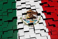 Mexico flag background formed from digital mosaic tiles, 3D rendering. Modern 3D rendered concept of numerous square tiles sliding together to form the national Royalty Free Stock Photography