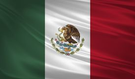 Mexico flag blowing in the wind. Background texture. 3d rendering, waving flag. Icon Stock Photography