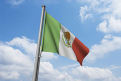 Mexico Flag with Clouds Stock Photos