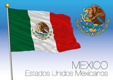 Mexico flag and coat of arms, United Mexican States Stock Images