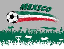 Mexico flag colors with soccer ball and Mexican supporters silho. Uettes. All the objects, brush strokes and silhouettes are in different layers and the text Stock Images