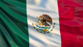 Mexico flag. 3d illustration of waving flag of Mexico stock illustration
