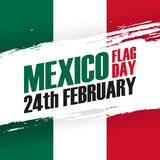 Mexico Flag Day holiday banner. 24th february. Mexico Flag Day holiday banner with brush stroke. 24th february. Vector Illustration Stock Photography