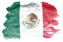 Mexico flag is depicted in liquid watercolor style isolated on white background. Careless paint shading with image of national flag. Independence Day banner stock image